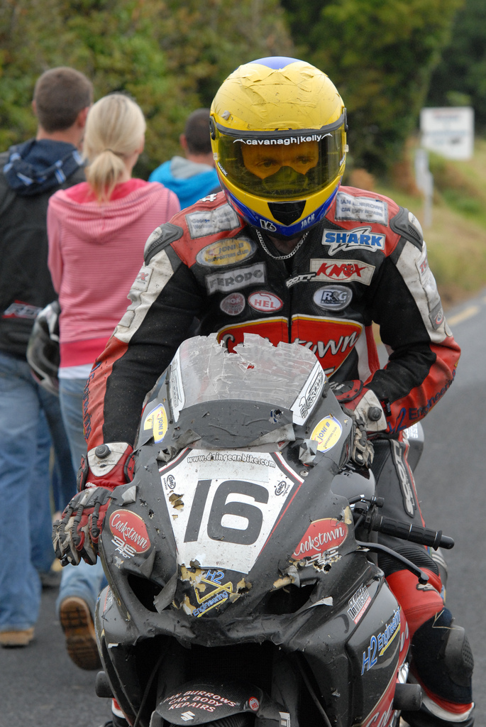 Sitting behind Superbikes when there are lose chippings isnt good for the health of a bike Athea 2011
