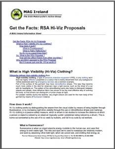Get the Facts - High Viz Information sheet