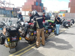 Arriving Dublin Port and meeting Vespa Club of Ireland members.