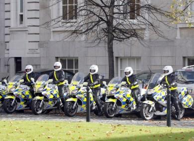 Garda escort motorcycles