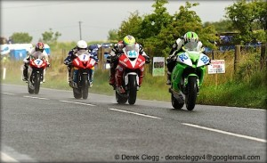 Derek McGee leads Jamie Hamilton, Dean Harrison and Gary Johnson at Dundrod race circuit during the 2013 Ulster Grand Prix road races. Photo © Derek Clegg. All rights reserved.