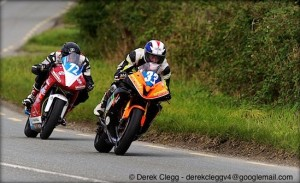 Mark Hanna leads Conor Behan in the junior support race at the 2013 Killalane road races. Photo © Derek Clegg. All rights reserved.