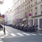 Motorcycle parking in Paris.