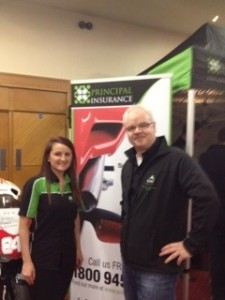 Ally Dixon, Principal Insurance and Victor Donnelly, MAG Ireland at the Cork Motorcycle Show